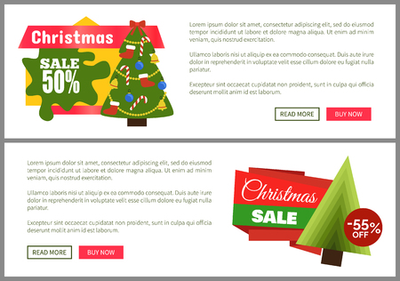 Christmas sale buy now posters vector illustration of two promotion cards with text sample, New Year trees with cute toys, push-buttons