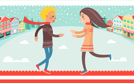 Happy couple boy and girl running to each other outdoors at wintertime at background of winter landscape, houses and road vector illustration Illustration