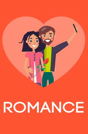 Romance concept, couple in love making selfie on smartphone, pair of boy and girl lovers, woman holding flower gift in hand vector Valentines Day