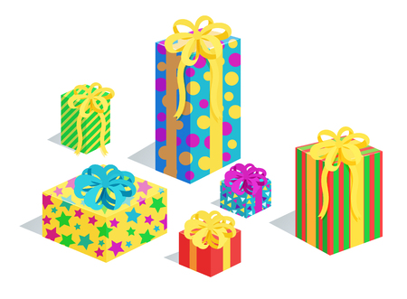 Gifts collection in wrappings with patterns of circles and stars, presents with bows, Christmas gifts packed in boxes vector illustration isolated on white Illustration