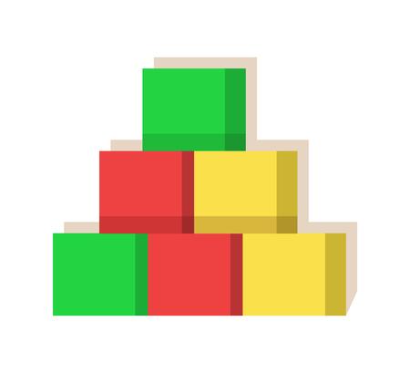 Multi colorato dei cubi creato alla fabbrica di Santa Claus con amore, giocattoli prodotti speciali per i bambini, costruttore del giocattolo per l'illustrazione di vettore del gioco Archivio Fotografico - 93655629