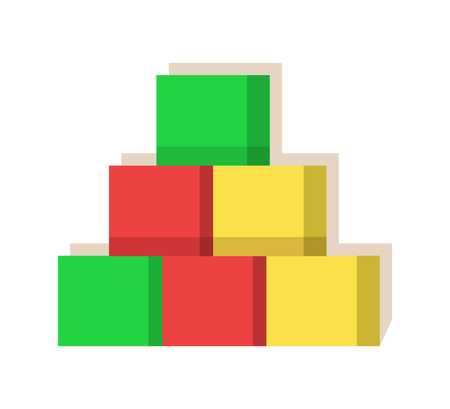 Cubes multi colored created at factory of Santa Claus with love, toys produced special for kids, toy constructor for play vector illustration