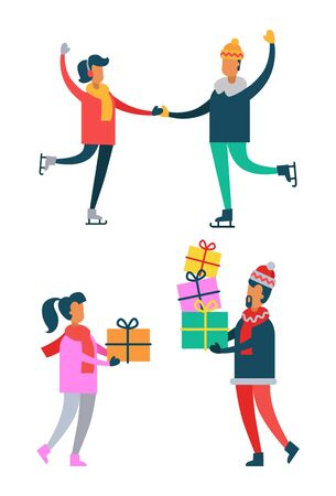 Happy couple skating, man and woman holding Christmas presents in hands, piles of gift boxes, vector illustration of happy family isolated on white Illustration