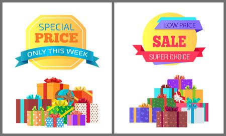 Alleen deze week speciale prijs exclusieve posters met stapels geschenkdozen verpakt in decoratief gekleurd papier, bedekt met bogen vector banners, super keuze Stock Illustratie