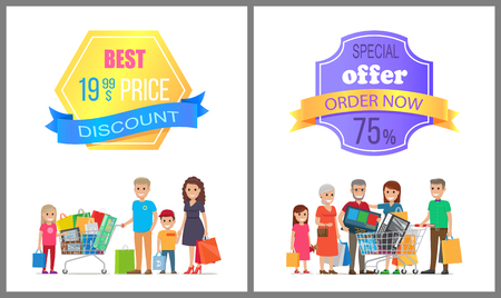 Best price discount special offer order now 75 off promo label on poster with people making purchases, big family on shopping vector illustration Illustration
