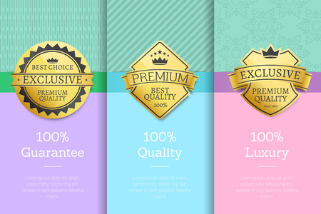 100 Luxury guarantee premium quality best golden labels sticker awards, vector illustration certificates posters covers isolated on color background Illustration