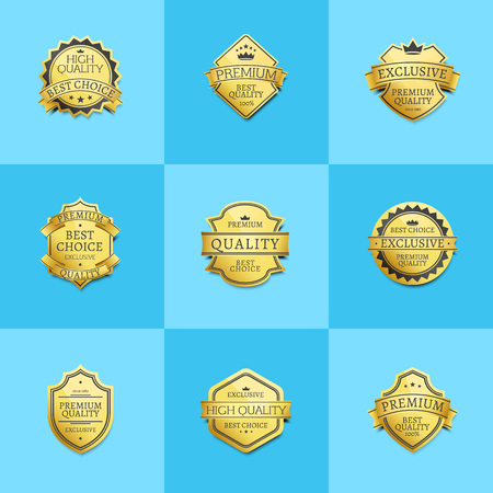 Set of premium quality best golden labels guarantee sticker awards, vector illustration certificate emblems with stars isolated on blue background