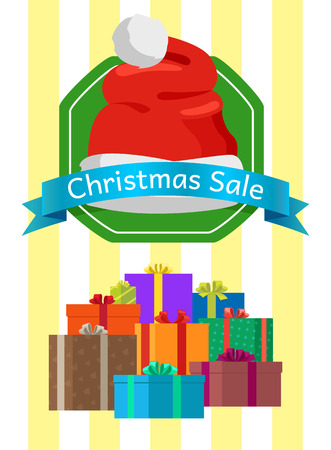 Christmas sale poster with wrapped presents in color boxes, discount sticker topped by Santas hat, promo label design in flat style isolated on stripes
