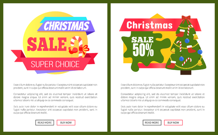 Set of Christmas sale advertisement cards with lolipop and New Year tree on circle or octagon background with text on the right, vector illustration