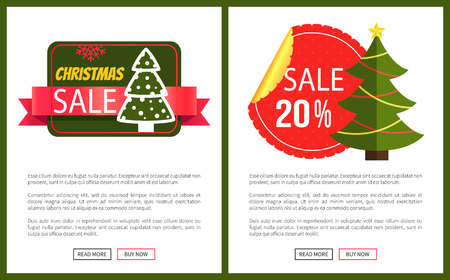 Two best Christmas sale cards vector illustrations with cute trees, bright red ribbons, ad text, isolated on white background with deep green frames