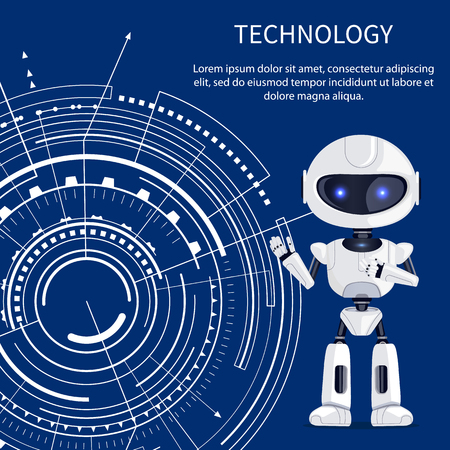 Technology banner with cute glossy cyborg with lilac eyes and white futuristic interface, text sample, many geometric shapes isolated on dark blue Vettoriali