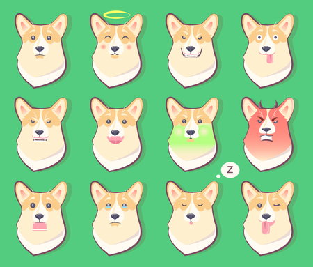 Set of Dogs Emotions, Cute Puppy Symbol Year 2018.