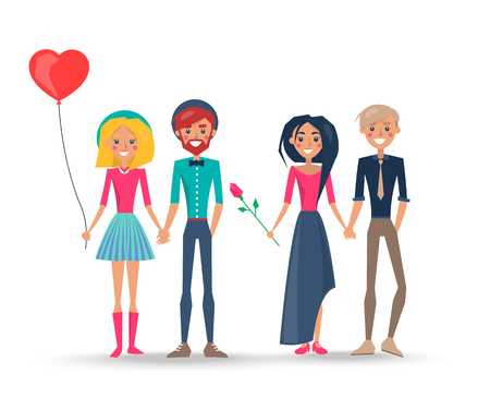 Happy Couples in Love, Pairs of Boys Girls Lovers Illustration