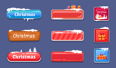 Set of winter theme web push button covered snow illustration.