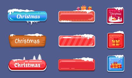 Set van winter thema web drukknop bedekt sneeuw illustratie. Stockfoto - 93702067