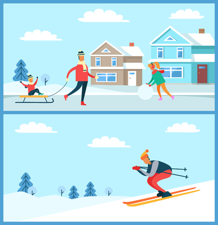 Wintertime posters collection, family with kid on sled and skier going down slope, clear sky and clouds, buildings and trees vector illustration.
