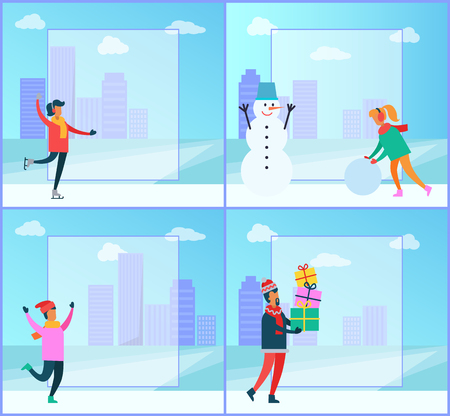 Winter posters collection, filling form and cityscape, people figure-skating and creating snowman, man with presents, isolated on vector illustration