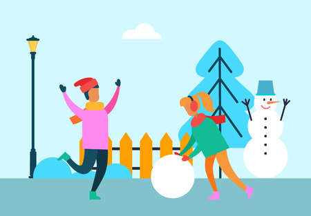 People having fun outdoors, girl with huge ball of snow and merry boy, snowman wth bucket near Christmas tree vector illustration cartoon characters