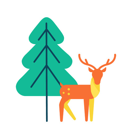 Deer animal icon, horned reindeer in orange and yellow color, vector illustration isolated on white background near green spruce tree in simple design