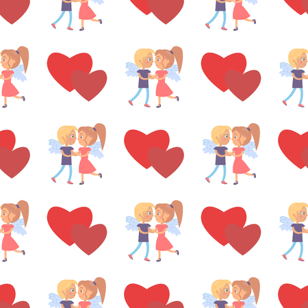 Boy and girl couple with wings on back seamless pattern with hearts, man kisses woman, vector illustration greeting card design Valentine s Day concept
