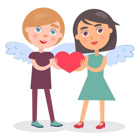 Casal feliz segurar o coração nas mãos, menino e menina com asas no cartaz de ilustração vetorial Voltar dia dos namorados cartão isolado no fundo branco