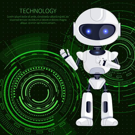Banner de tecnología, robot blanco que nos saluda y muestra de texto con letras en la parte superior, criatura robótica e interfaz, aislados en ilustración vectorial Ilustración de vector
