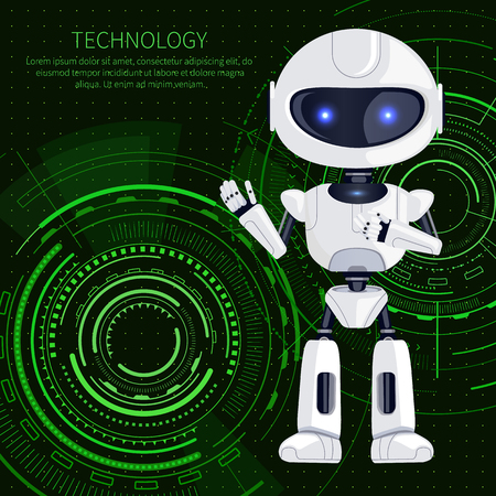 Technology banner, white robot waving to us and text sample with letterings above, robotic creature and interface, isolated on vector illustration