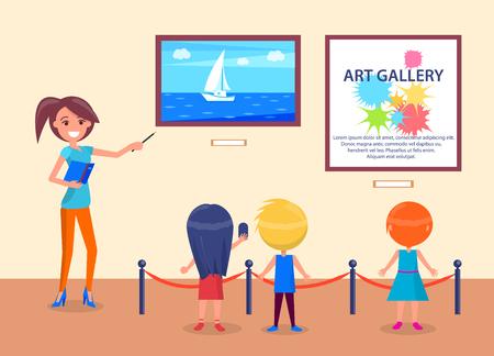 Wycieczka do galerii sztuki dla dzieci w wieku szkolnym widok z tyłu z przewodnikiem. Kobieta, wskazując na morze z żaglówką, dzieci uważnie słuchają ilustracji wektorowych nauczyciela