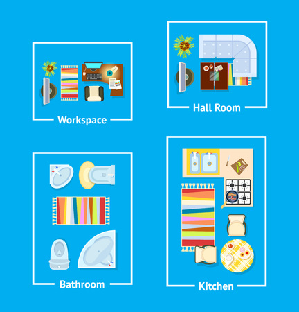 Apartment interior design divided into workspace, hall room, bathroom and kitchen sections. Background of vector illustration with plan is blue