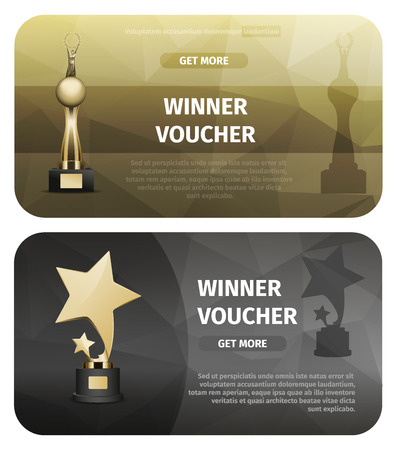Two winner vouchers with big and small golden stars and trophy with person stands on sphere and holds laurel wreath vector illustration.