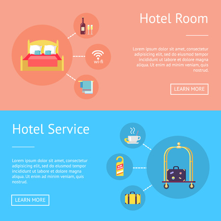 Hotel room and service set of advertising banners. Vector illustration of bed, wi-fi sign, fresh wine, clean towels, hot drink, suitcase and door knob hanger Banque d'images - 93701604