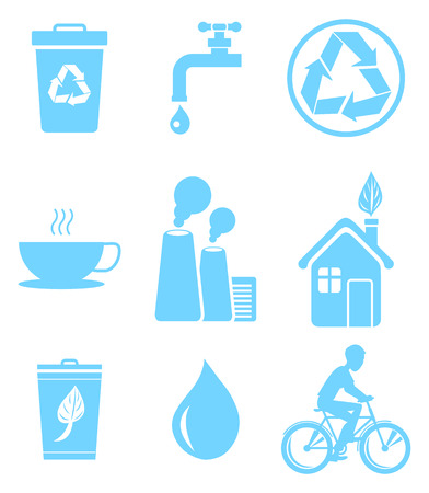 Blue ecology saving and warning isolated vector illustrations set. Recycling agitation, stop pollution and water economization. 版權商用圖片 - 93702015
