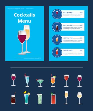 Cocktail menu advertentie poster met close-up van wijn en champagne glazen, vector illustratie van drankjes ingrediënten, soorten en prijs op blauw