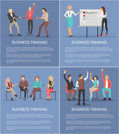 Business training set of posters with woman leader pointing at whiteboard, coworkers discussing issues, men pulling rope and teamwork at seminar vector Illustration