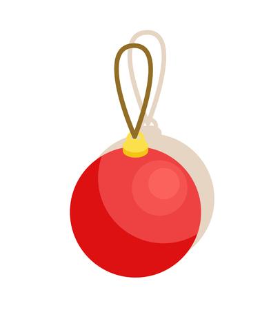 白い背景に隔離されたプラスチックやガラスのおもちゃベクトルイラストの装飾用のスレッドを持つ赤い光沢のあるボール  イラスト・ベクター素材