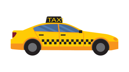 Taxiauto van gele kleur met vierkanten en vensters, voertuig met teken en onderscheidende kenmerken en eigenschappen, die op vectorillustratie worden geïsoleerd