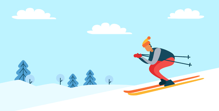 Skier wearing hat and jacket, going down slope, winter nature, pine trees and clouds in sky, poster with person isolated on vector illustration