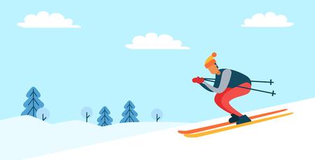 Skiër die hoed en jasje draagt, die helling, de winteraard, pijnboombomen en wolken in hemel, affiche met persoon afdaalt die op vectorillustratie wordt geïsoleerd