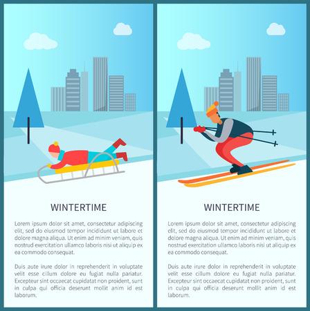 Wintertijdrecreatie, slee en kind dat erop ligt, skiër die helling afloopt, pijnbomen en besneeuwd weer, aantal borden, vectorillustratie