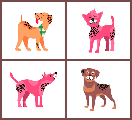 Dogs of pure breeds. Weimaraner in neckerchief, Chinese crested puppy, American hairless terrier and cute rottweiler isolated vector illustrations.