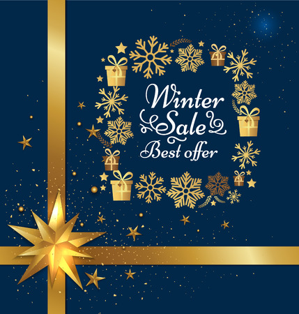Winter sale best offer poster gift bow, decorative square frame made of golden snowflakes, presents boxes in xmas concept vector on blue with stars