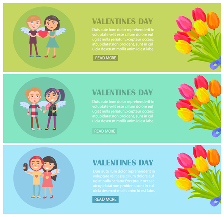 Valentines day web postcards set with young lovers tenderly gently smiling, wings on back vector illustration isolated banners with tulip flowers
