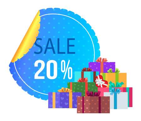 Sale 20 off round label special exclusive offer poster with piles of gift boxes wrapped in decorative color paper, topped by bows and ribbons vector