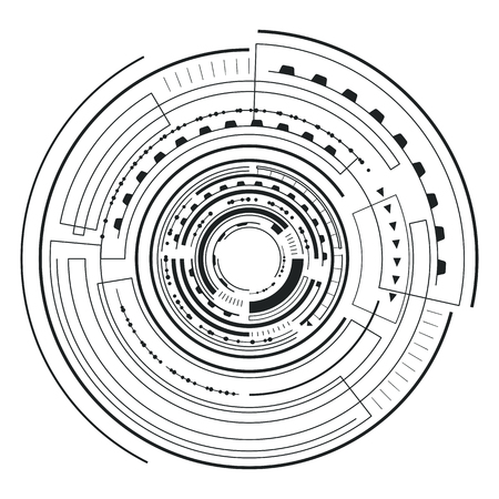 Interface futuristic sketch, colorless poster with circular geometric form and lines with triangles, vector illustration isolated on white background Çizim