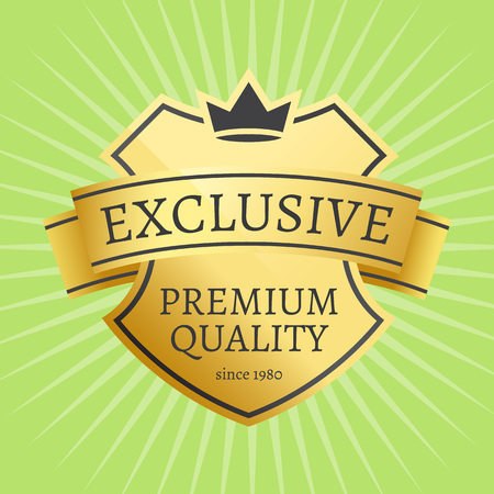 Premium quality best golden label guarantee since 1980 sticker award, vector illustration certificate emblem with crown isolated on green with rays Ilustração