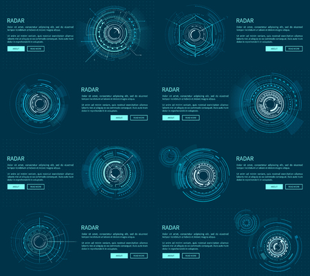 Radar webpages collection with text sample, headlines and buttons saying about and read more, vector illustration isolated on blue background