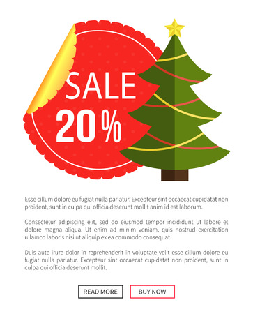 Christmas sale buy now posters vector illustration of promotion cards with text sample, New Year trees with cute toys, push-buttons Stock Vector - 93708831