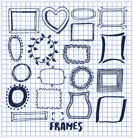 Set of cute hand made frames vector illustration with various shapes racks, lovely heart and leaves, rectangles and squares, oval minimalistic shells