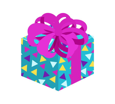Present with Posh Bow Pattern Vector Illustration