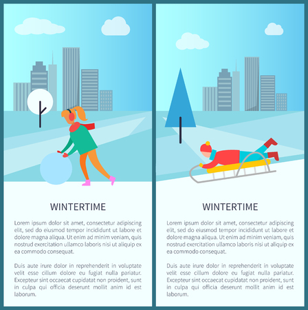Wintertime activities poster vector illustration set